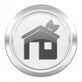 house metallic icon ecological home symbol