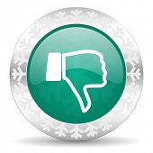 dislike green icon, christmas button, thumb down sign