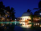Night view of beach resort in Africa