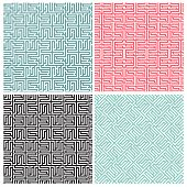 Set of four maze patterns