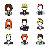 image of mass media  - Journalist avatar mass media news reporter characters set isolated vector illustration - JPG