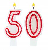 Birthday Candles Number Fifty Isolated