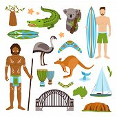 image of crocodile  - Australia tourism nature and culture icons set with crocodile yacht kangaroo isolated vector illustration - JPG