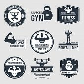 stock photo of rutin  - Bodybuilding black label set with muscle gym fitness sport club badges isolated vector illustration - JPG