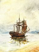 picture of sail ship  - Watercolor painting of the old ship with sails - JPG