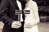 Just married black and white