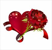 Beautiful Heart With A Rose Interlaced With A Red Ribbon. Valentine's Day.