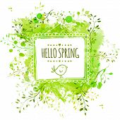 stock photo of tree leaves  - Square frame with doodle bird and text hello spring - JPG
