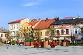 Wadowice, Poland - September 07, 2014: Tourists Visit The City Center Of Wadowice. Wadowice Is The P