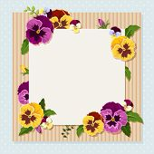 Card with colorful pansy flowers. Vector eps-10.