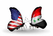 Two Butterflies With Flags On Wings As Symbol Of Relations Usa And Syria