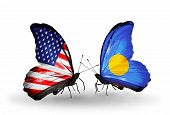 Two Butterflies With Flags On Wings As Symbol Of Relations Usa And Palau