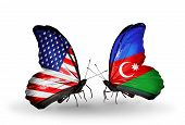 Two Butterflies With Flags On Wings As Symbol Of Relations Usa And Azerbaijan
