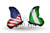 picture of nigeria  - Two butterflies with flags on wings as symbol of relations USA and Nigeria - JPG