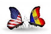 Two Butterflies With Flags On Wings As Symbol Of Relations Usa And Moldova