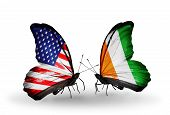 Two Butterflies With Flags On Wings As Symbol Of Relations Usa And Cote D'ivoire
