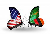 Two Butterflies With Flags On Wings As Symbol Of Relations Usa And Zambia