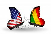 Two Butterflies With Flags On Wings As Symbol Of Relations Usa And Mali