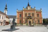 statue J. J. Zmaj and Vladicin Court in Novi Sad, Serbia