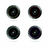 Four Speakers With Different Colors Vector