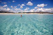 Panorama of idyllic beach with turquoise water