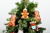 The New Year Tree And Hand-made Cookies With Snow Decoration