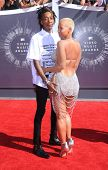 LOS ANGELES - AUG 24:  Wiz Khalifa & Amber Rose arrives to the 2014 Mtv Vidoe Music Awards on August 24, 2014 in Los Angeles, CA