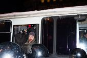 The unknown detained oppositionist on a protest action in Moscow