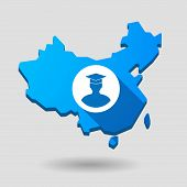 China Map Icon With A Student Avatar