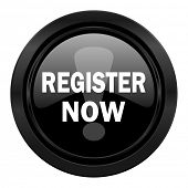 register now black icon
