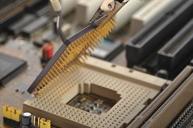 picture of supercomputer  - computer Central processor being installed close up view  - JPG