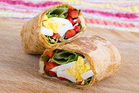 image of sandwich wrap  - egg cheese and pepper sandwich wrap in tortilla - JPG
