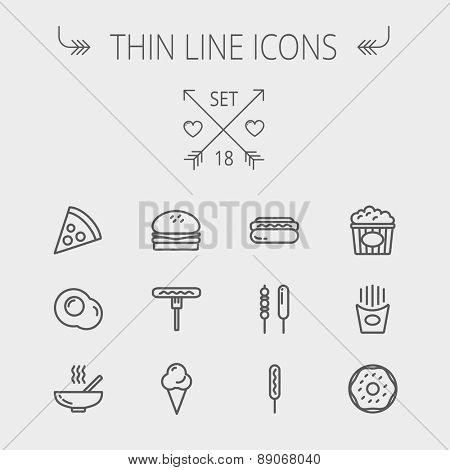 Food thin line icon set for web and mobile. Set includes- cupcakes, spoon and fork, plate, kettle, c
