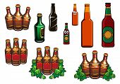 stock photo of alcoholic beverage  - Beer bottles set with cartoon green and brown glass bottles of beer - JPG