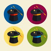 image of fable  - Vector illustration magic hat icon set - JPG