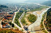 stock photo of albania  - Modern part of Berat city with Osum river in Albania - JPG