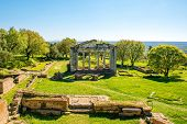 stock photo of albania  - Temple ruins in Ancient Apollonia in Albania - JPG