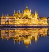pic of hungarian  - View of hungarian Parliament building at night in Budapest - JPG