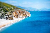 stock photo of albania  - Gjipe beach with rocks and river in Albania - JPG