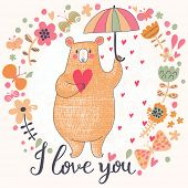 stock photo of rain  - Sweet romantic card with cute bear and the rain made of hearts in flowers - JPG