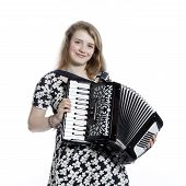 pic of accordion  - teenage girl in studio with accordion against white background  - JPG