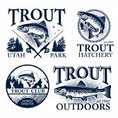 picture of aquatic animals  - Vintage trout fishing emblems - JPG