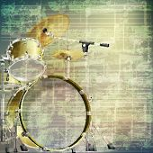 picture of drum-kit  - abstract grunge green cracked music symbols vintage background with drum kit - JPG