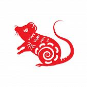 picture of rats  - Red paper cut a rat zodiac symbols - JPG
