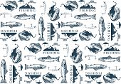 picture of trout fishing  - Pattern with trout fishing emblems - JPG