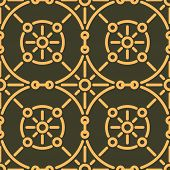 stock photo of gamma  - Rich decorated calligraphic outlined stroke seamless pattern in dark and gold gamma - JPG