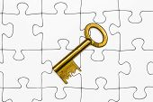 foto of jigsaw  - Key on jigsaw Jigsaw and puzzles concepts - JPG