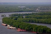 Mississipppi River With Barges