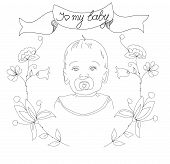 image of freehand drawing  - freehand drawing of a child with flowers and the words I love my baby - JPG