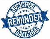 image of reminder  - reminder grunge retro blue isolated ribbon stamp - JPG